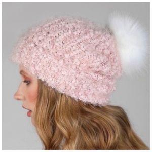 Blush pink ultra soft popcorn faux fur pom beanie